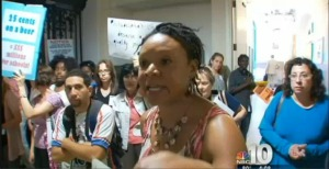 Parent Robin Roberts at City Hall in the spring worked to stop the cuts we see in classrooms this fall.