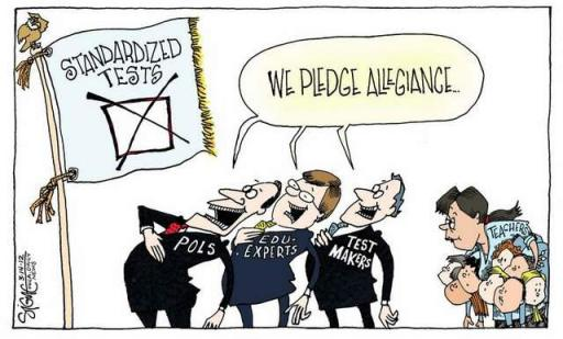 Parents United spoke out against the imposition of additional high stakes testing in schools. We testified at a state hearing opposing mandatory graduation exams known as the Keystones and are working with state legislators to allow for an opt-out process for parents. (Signe Wilkinson for the Philadelphia Daily News, 3/14/2012)