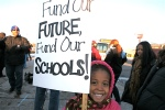 Over a hundred parents, teachers, students and staff braved freezing temperatures at the Roosevelt Mall in December to rally the Northeast community around full and fair funding for schools. (Photos by Harvey Finkle)
