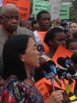 """Parents United's Helen Gym speaks at the P.O.W.E.R. rally and vows that """"the eyes of the nation should be on Philadelphia"""" and the shameful state of Philadelphia's public schools."""