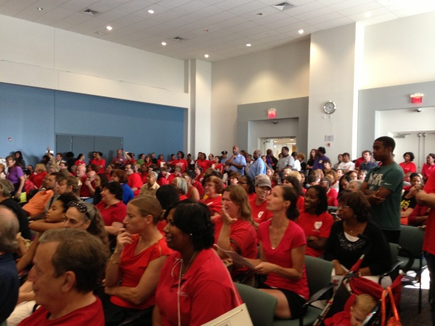 Teachers crowd an August SRC meeting where commissioners voted to suspend the school code and unilaterally eliminate protections.