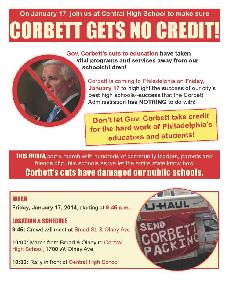 Send Corbett packing! Rally for schools 1/17