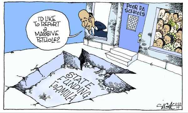 Governor Corbett has decimated school districts statewide, but the mayor needs to do more. (Cartoon: Signe Wilkinson for the Daily News)