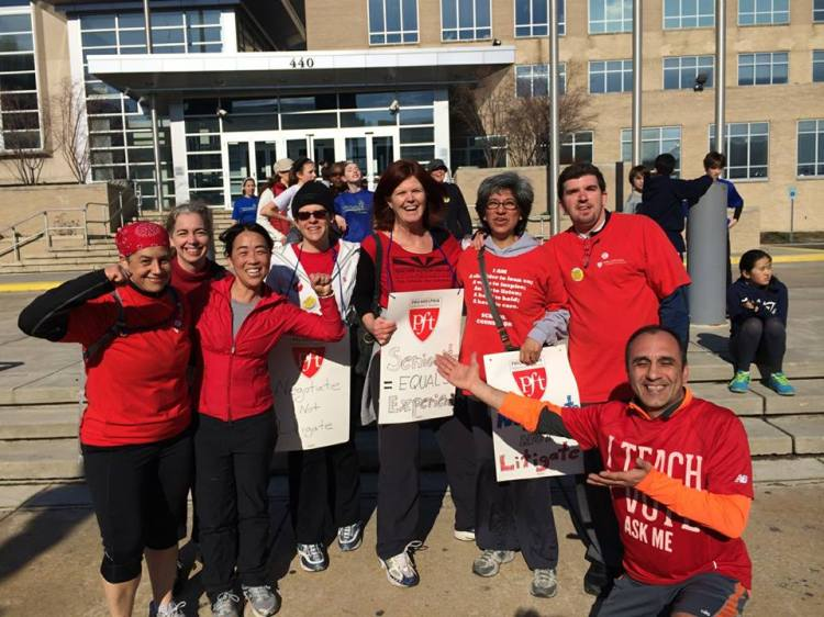 """I ended my week with Masterman teacher Louis Borda, teachers, parents, students, and staff who kicked off a """"We Run Philly Schools - not the SRC!"""" run around 440. Thanks for keeping me fit and active! (Photo: Louis Borda)"""